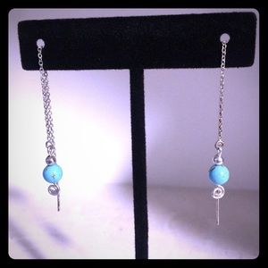 .925 Silver and Turquoise Thread Style Earrings
